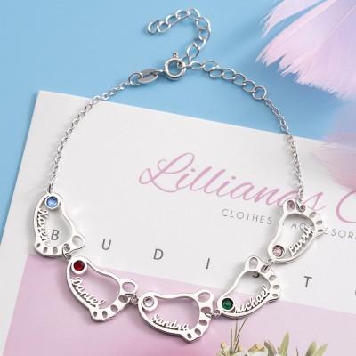 Silver Custom 1-10 Baby Feet Name Engraved Bracelet With Birthstone