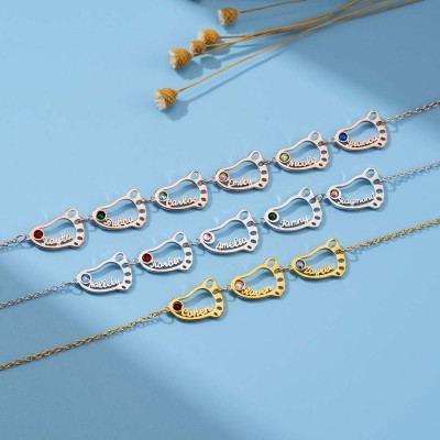 Personalized 1-8 Hollow Baby Feet Engravable Family Name Necklace With Birthstone