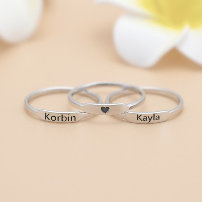 Personalized Initial and Name Stackable Bar Rings