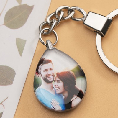 Custom Crystal Photo Keychain Personalized Couple Gifts