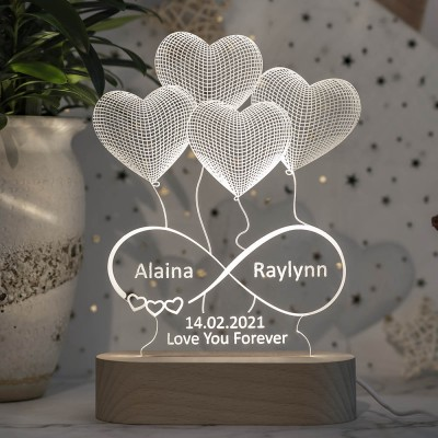 Personalized 3D Illusion Lamp Night With Names Engraved For Her Girlfriend Wife