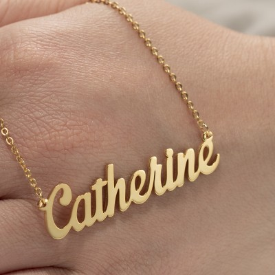 """Silver Personalized Customized """" Carrie"""" Style Name Necklace"""