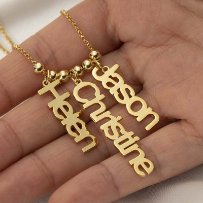 18K Gold Plating Personalized Vertical Engraving Name Necklace