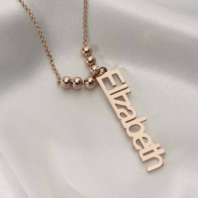 18K Rose Gold Plating Personalized Vertical Engraving Name Necklace