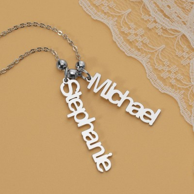 Silver Personalized Vertical Engraving Name Necklace