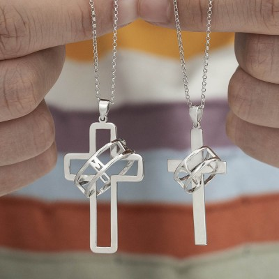 Personalised Couple Symbol of Faith Cross Necklace with Halo Name Engraved Ring Two Necklaces