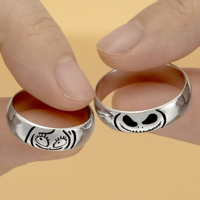 Personalized Lovely Jack Skellington and Sally Couple's Band Set Rings