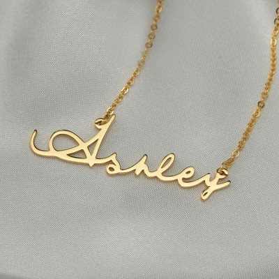 Personalized Signature Style Gold Name Necklace