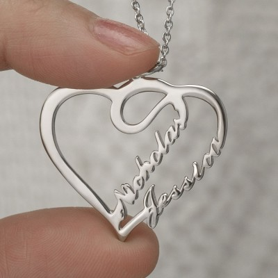 Personalised Heart Couple Name Necklace