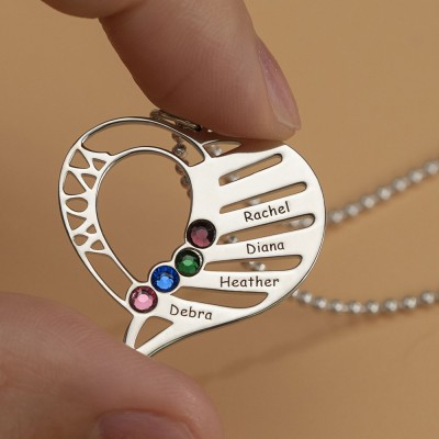 Personalized Heart Love Shape Engraved Name Necklaces with 1-6 Birthstones