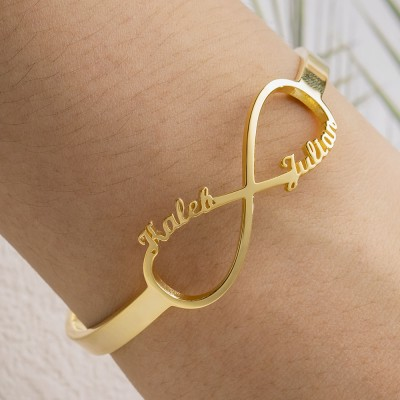 Personalized Infinity Name Bracelet Bangle With 1-6 Names