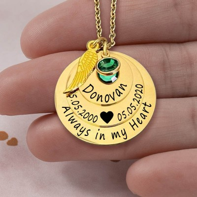 Personalized Engraved Always in my Heart Memorial Gold Necklace With Birthstone