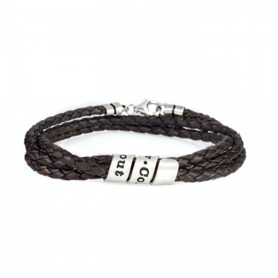 Mens Personalized Engraved Name Leather Bracelets With 1-10 Names