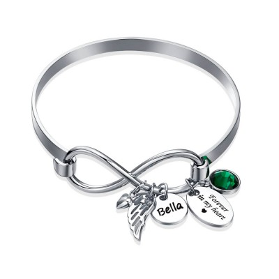 Personalized Infinity Name Bracelet With Birthstone Forever In My Heart Angel Wing