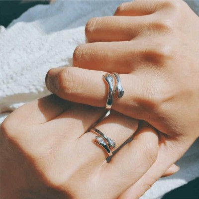 S925 Sterling Silver Personalized Couple Hug Name Ring-I Will Give You A Hug Love