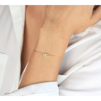 S925 Silver Personalized Initial Letter Name Bracelet
