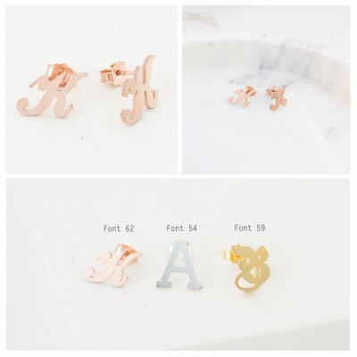 S925 Silver Personalized Initial Letter Name Earrings