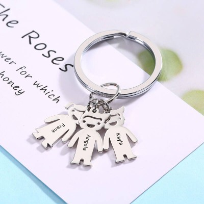 Personalized 1-10 Kids Charms With Engraving Name Key Chains