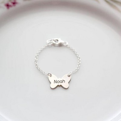 Personalized Butterfly Shape Brynn Baby Name Engraving Bracelets