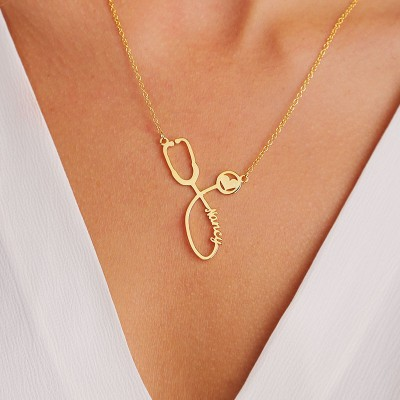 S925 Sterling Silver Personalized Stethoscope Name Necklace For Our Heroes